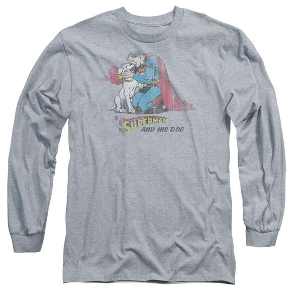 Superman And His Dog Long Sleeve Adult Athletic T-Shirt