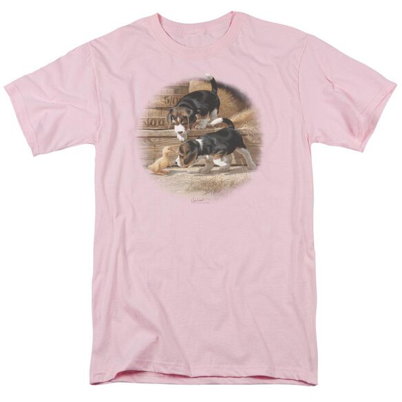 Wildlife Getting Acquainted Short Sleeve Adult Pink T-Shirt