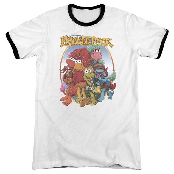 Fraggle Rock Group Hug Adult Ringer White Black