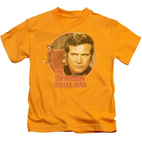 Six Million Dollar Man Run Faster Short Sleeve Juvenile Gold T-Shirt