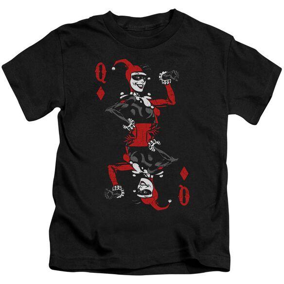 Batman Quinn Of Diamonds Short Sleeve Juvenile Black T-Shirt
