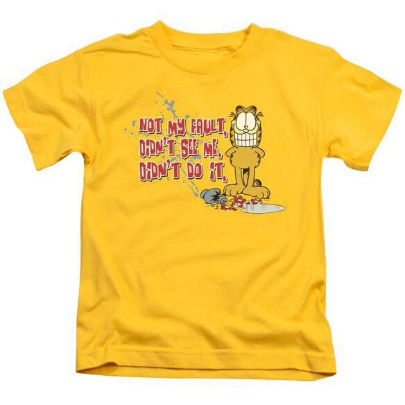 Garfield Not My Fault Short Sleeve Juvenile Yellow T-Shirt