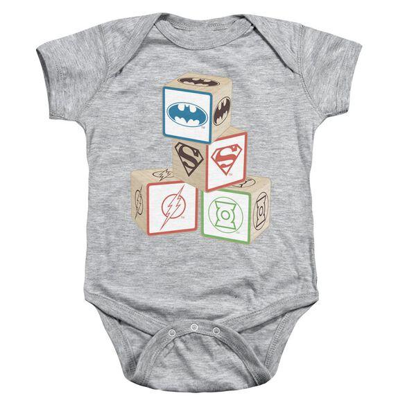 Jla Baby Block Infant Snapsuit Athletic Heather