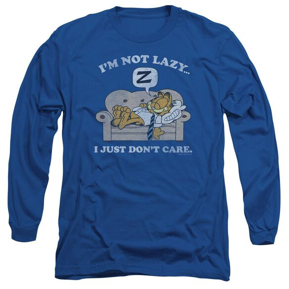 Garfield Not Lazy Long Sleeve Adult Royal T-Shirt