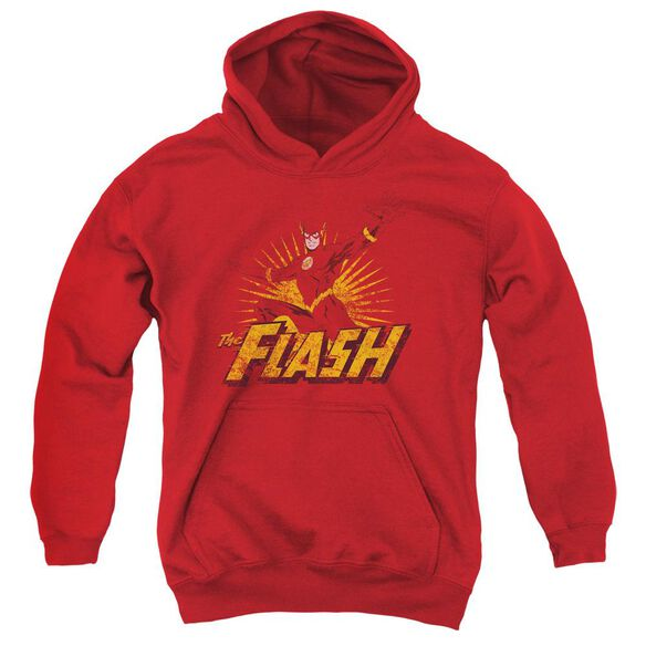 Jla Flash Rough Distress Youth Pull Over Hoodie