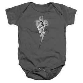 Elvis Tcb Ornate Infant Snapsuit Charcoal