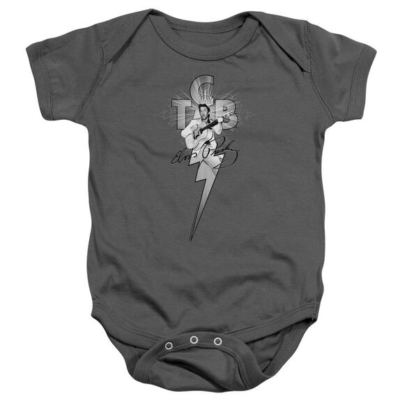 Elvis Tcb Ornate Infant Snapsuit Charcoal