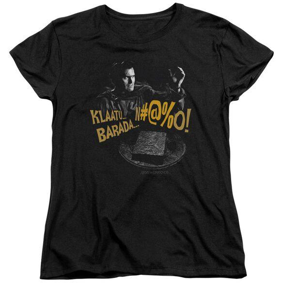 Army Of Darkness Klaatu...Barada Short Sleeve Womens Tee T-Shirt