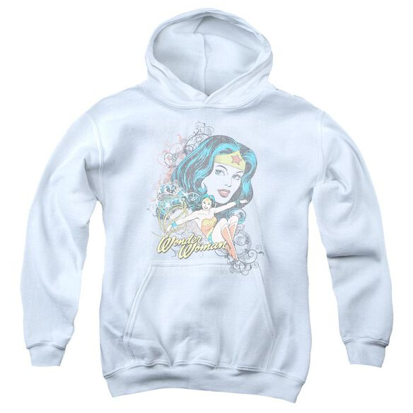 Dc Wonder Scroll-youth Pull-over Hoodie - White