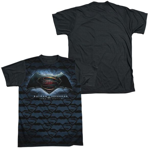 Batman Vs Superman Logo Pattern Short Sleeve Adult Front Black Back T-Shirt