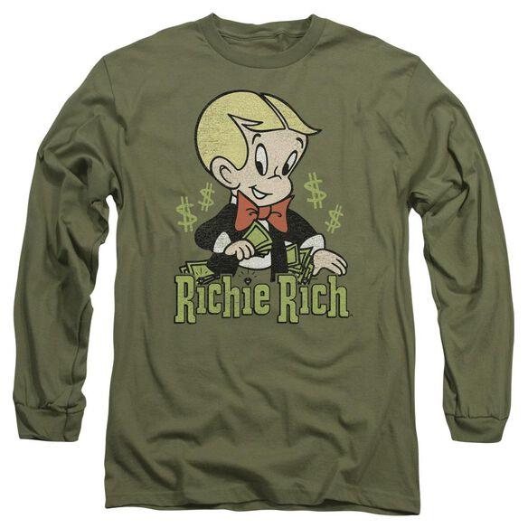 Richie Rich Rich Logo Long Sleeve Adult Military T-Shirt