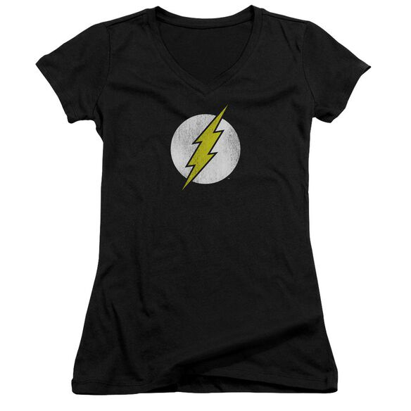 Dc Flash Flash Logo Distressed Junior V Neck T-Shirt