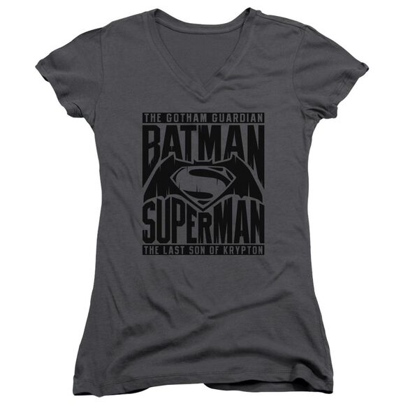 Batman V Superman Title Fight Junior V Neck T-Shirt