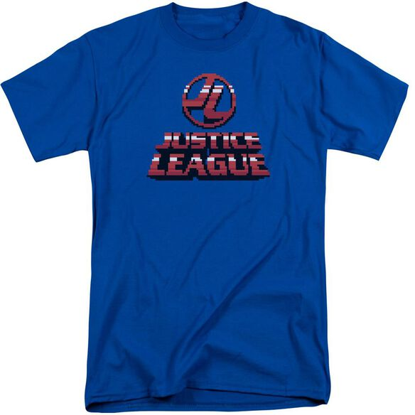 Jla 8 Bit Jla Short Sleeve Adult Tall Royal T-Shirt