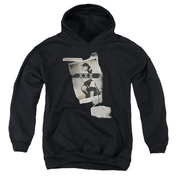 Bettie Page Newspaper & Lace Youth Pull Over Hoodie