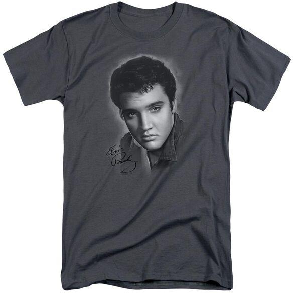 Elvis Grey Portrait Short Sleeve Adult Tall T-Shirt