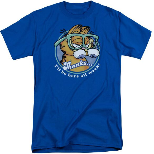 Garfield Performing Short Sleeve Adult Tall Royal T-Shirt