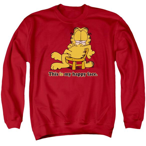 Garfield Happy Face - Adult Crewneck Sweatshirt - Red