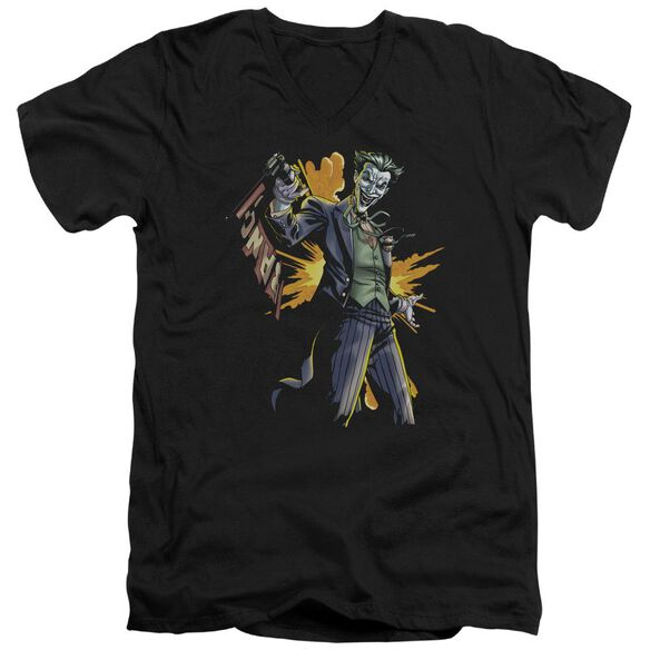 Batman Joker Bang Short Sleeve Adult V Neck T-Shirt