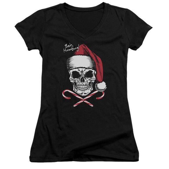 Skull Bah Humbug Junior V Neck T-Shirt