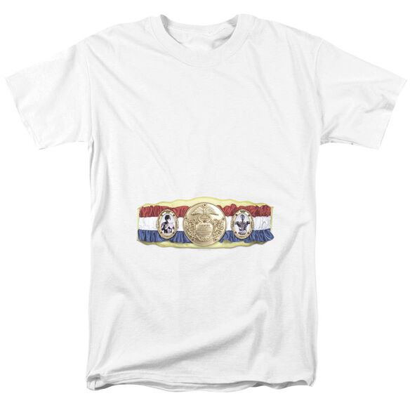 Rocky Championship Belt(Bottom Front) Short Sleeve Adult White T-Shirt