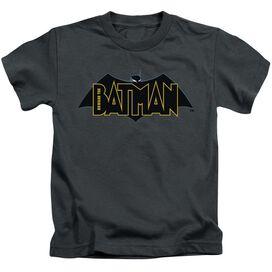 Beware The Batman Logo Short Sleeve Juvenile Charcoal T-Shirt