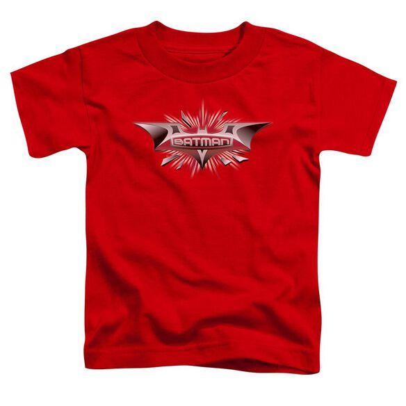 Dark Knight Beveled Chrome Shield Short Sleeve Toddler Tee Red T-Shirt