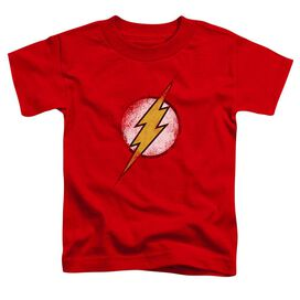 Jla Destroyed Flash Logo Short Sleeve Toddler Tee Red Md T-Shirt