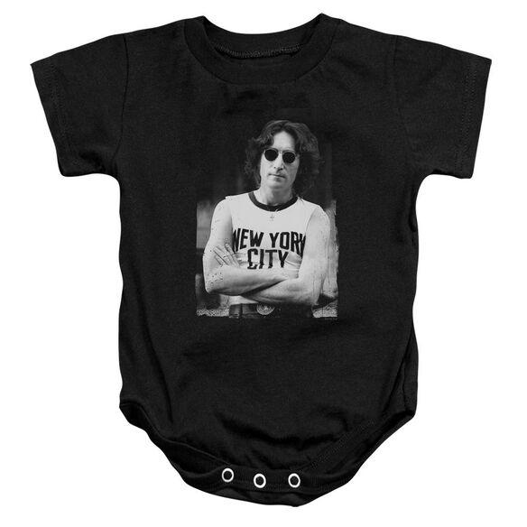 John Lennon New York Infant Snapsuit Black