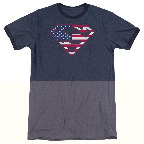 Superman U S Shield - Adult Heather Ringer - Navy