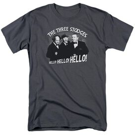 Three Stooges Hello Again Short Sleeve Adult Charcoal T-Shirt