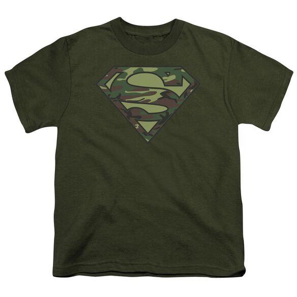 Superman Camo Logo Short Sleeve Youth Military T-Shirt