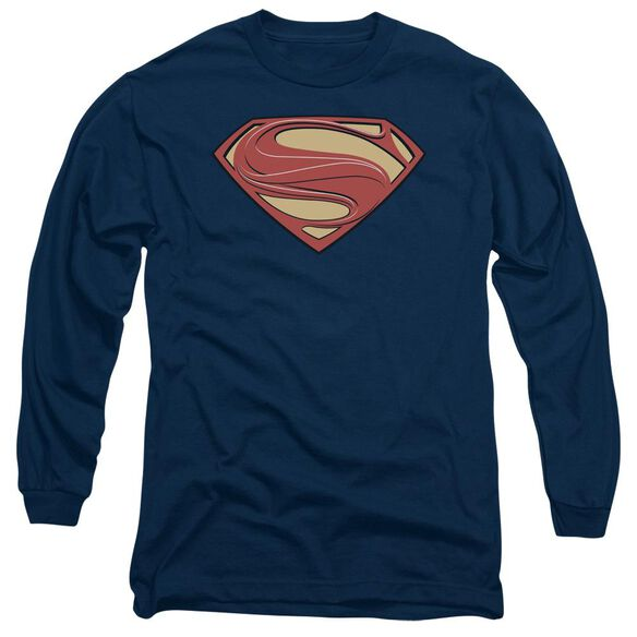 Man Of Steel New Solid Shield Long Sleeve Adult T-Shirt