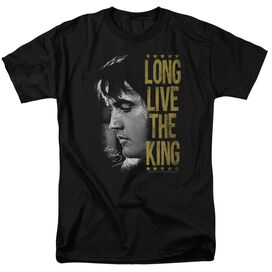 Elvis Long Live The King Short Sleeve Adult Black T-Shirt
