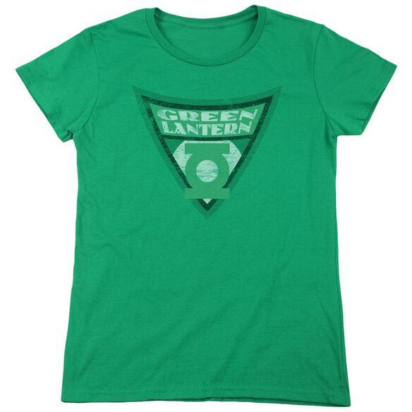 Batman Bb Lantern Shield Short Sleeve Womens Tee Kelly T-Shirt