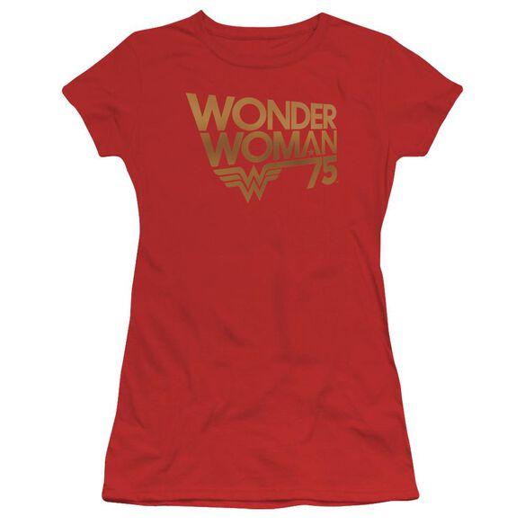 Wonder Woman Wonder Woman 75 Th Anniversary Gold Logo Short Sleeve Junior Sheer T-Shirt