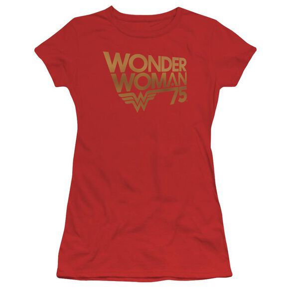 Wonder Woman Wonder Woman 75 Th Anniversary Gold Logo Hbo Short Sleeve Junior Sheer T-Shirt