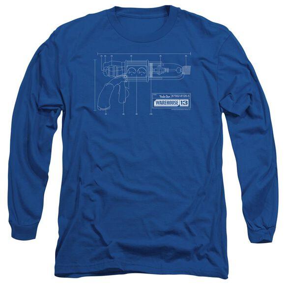 Warehouse 13 Tesla Gun Long Sleeve Adult Royal T-Shirt