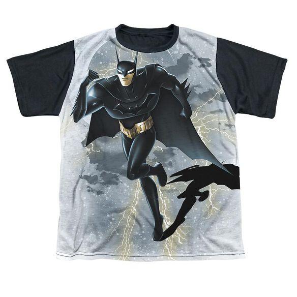 Beware The Batman Storm Sprint Short Sleeve Youth Front Black Back T-Shirt