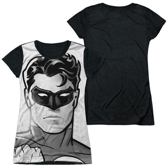 Green Lantern Bw Gl Head Short Sleeve Junior Poly Black Back T-Shirt