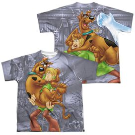 Scooby Doo Scooby And Shaggy (Front Back Print) Short Sleeve Youth Poly Crew T-Shirt