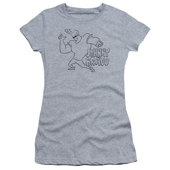 Johnny Bravo Jb Line Art Short Sleeve Junior Sheer Athletic T-Shirt