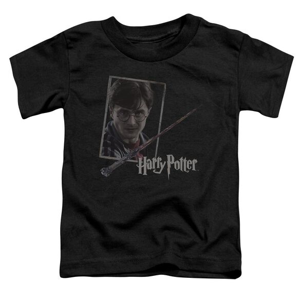 Harry Potter Harrys Wand Portrait Short Sleeve Toddler Tee Black T-Shirt