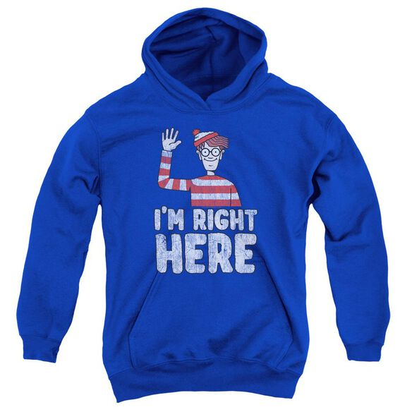 Wheres Waldo I'm Right Here Youth Pull Over Hoodie Royal