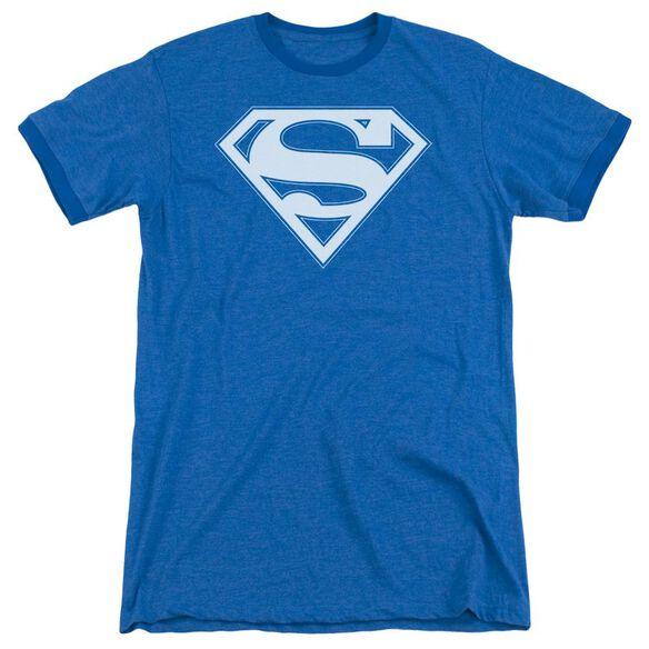 Superman Blue & White Shield Adult Heather Ringer Royal Blue
