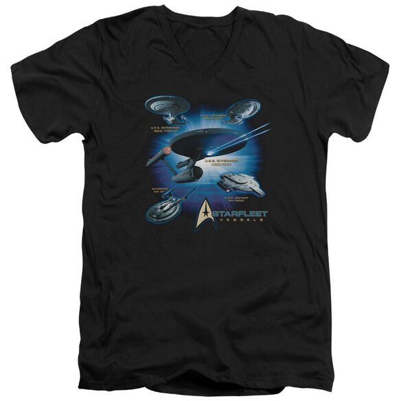 Star Trek Starfleet Vessels Short Sleeve Adult V Neck T-Shirt