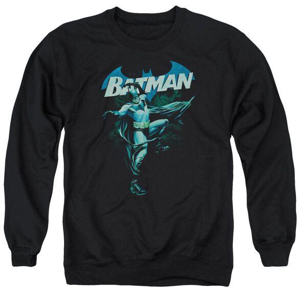 Batman Blue Bat - Adult Crewneck Sweatshirt - Black
