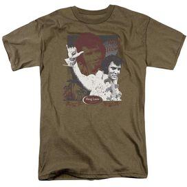 Elvis Aloha Hang Loose Short Sleeve Adult Safari Green T-Shirt