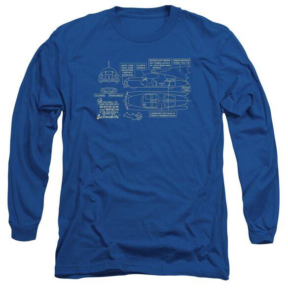 Batman Batmobile Long Sleeve Adult Royal T-Shirt