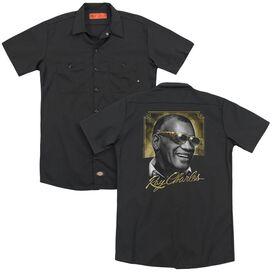 Ray Charles Golden Glasses (Back Print) Adult Work Shirt